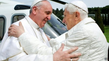 Pope Francis was flown by helicopter to Castel Gandolfo for a private lunch with Pope Emeritus Benedict XVI photo