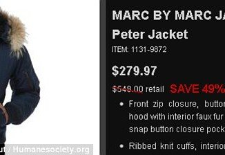 "The labels on three Marc Jacobs jackets at Century 21 revealed that they were trimmed with ""real raccoon fur"" from China, and laboratory testing later found that it was actually raccoon dog"