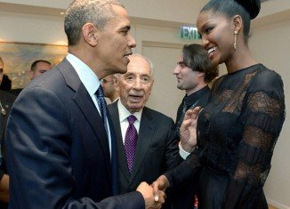 Yityish Aynaw and Barack Obama were introduced by Israeli President Shimon Peres