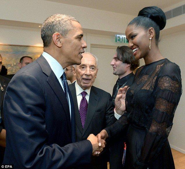 Yityish Aynaw and Barack Obama were introduced by Israeli President Shimon Peres