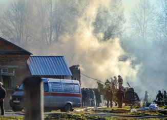 At least 38 people are feared dead after a fire swept through the No 14 psychiatric hospital in Ramenskiy village