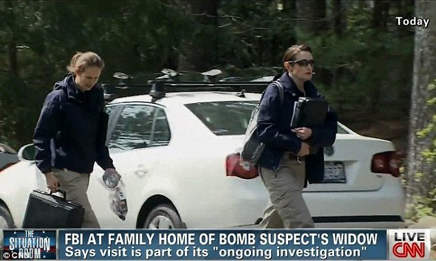 FBI agents investigating the Boston bombings visited the North Kingstown home of Katherine Russell's parents, where Tamerlan Tsarnaev's widow has been staying since the attacks