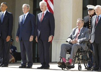 Five living American presidents and their wives gathered in Dallas Thursday to honor the dedication of the George W. Bush Presidential Center