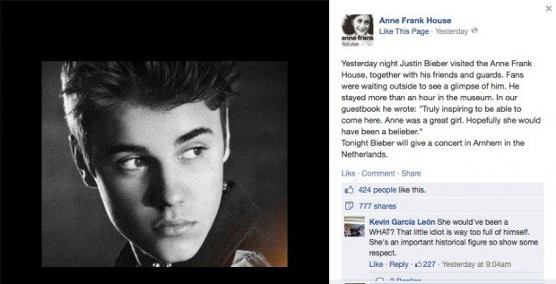 Justin Bieber has caused online outrage after writing a tasteless comment in the guestbook at the Anne Frank House in Amsterdam