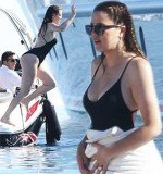 Khloe Kardashian stripped down while on a holiday in Mykonos, revealing her frame in a one-piece bathing suit