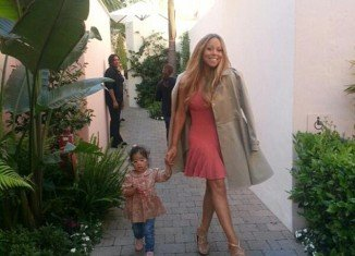 Monroe, 23-month-old, joined Mariah Carey as the singer left for a taping of American Idol