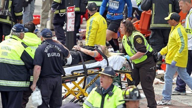 "The FBI launches a ""potential terrorism inquiry"" after two explosions hit Boston Marathon finishing line leaving three people dead and at least 140 injured"