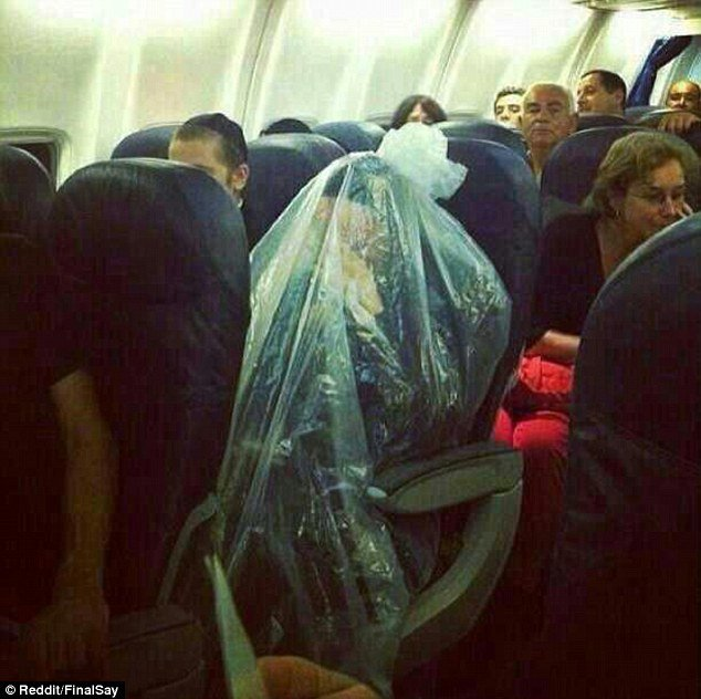 The Orthodox Jew took his beliefs a step further by covering himself in a plastic bag during flight as his religion forbids him to fly over cemeteries
