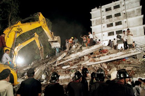 The seven-storey block in Thane collapsed late on Thursday, with more than 100 people reportedly inside