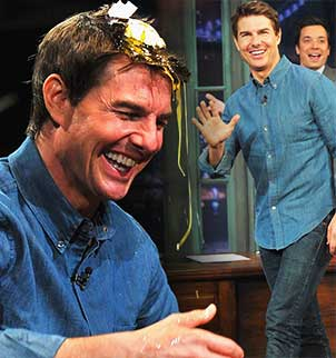 Tom Cruise let his guard down for the Late Night With Jimmy Fallon on Friday as he played a game of egg roulette with the show host and lost
