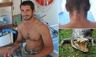 Yoann Galeran has managed to escape a saltwater crocodile that latched on to his head as he swam in Australia's Northern Territory