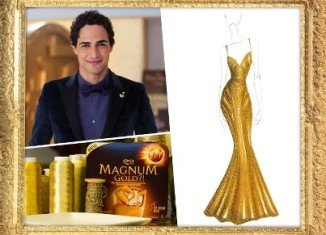 Zac Posen's $1.5 million dress was made to look like melting ice cream and was created in honor of Magnum's new Gold ice cream bar