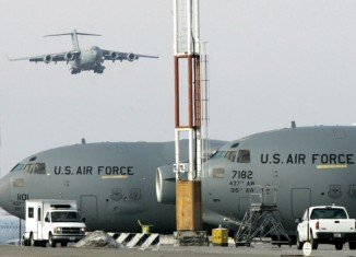 A US tanker aircraft has crashed after taking off from the Manas airbase in Kyrgyzstan