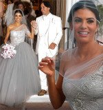 Adriana De Moura wore a grey rhinestone-embroidered one-sleeve princess gown with a tulle skirt