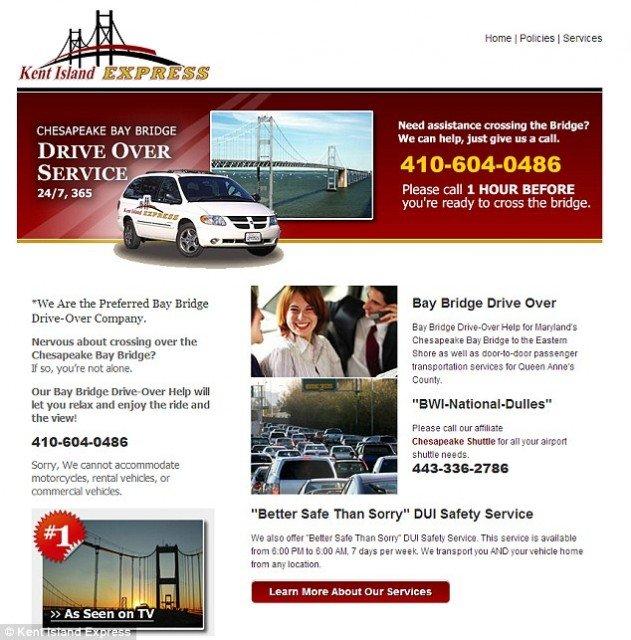 Alex Robinson of Kent Island Express charges 25 to drive nervous motorists across the Chesapeake Bay bridge 631x640 photo