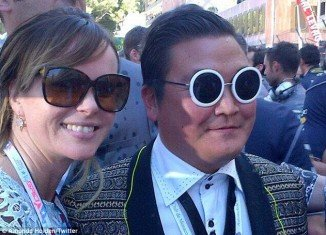 Amanda Holden posed with Psy lookalike Denis Carré at the Monaco Grand Prix