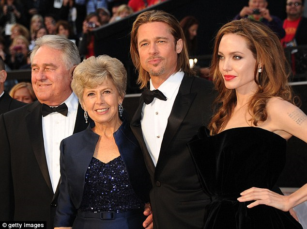 Angelina Jolie with her fiancé Brad Pitt and his mother Jane and father William at the Oscars in 2012