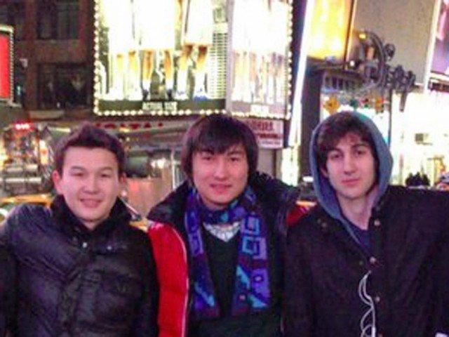 Azamat Tazhayakov, Dias Kadyrbayev and Dzhokhar Tsarnaev in Times Square last year