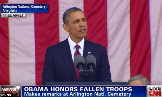 Barack Obama has paid tribute to America's fallen soldiers in a moving Memorial Day speech at Arlington National Cemetery