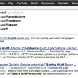 Bettina Wulff, wife of former German president Christian Wulff, sued Google because auto-complete suggested words linking her to escort services