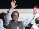 Former Pakistani Prime Minister Nawaz Sharif is celebrating with his supporters, amid early signs that his party will be the largest after parliamentary elections
