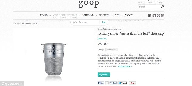 Gwyneth Paltrow is offering sterling silver shot glasses for 950 as well as a pair of glass and sterling silver decanters for an eye watering 4495 photo