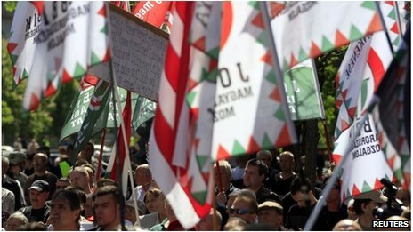 Hungary's far-right Jobbik party has staged a rally in the center of the capital in protest at the Budapest's hosting of the World Jewish Congress