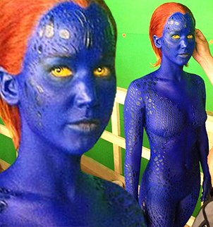Jennifer Lawrence is covered in blue to record scenes in the Days of Future Past edition of X-Men franchise