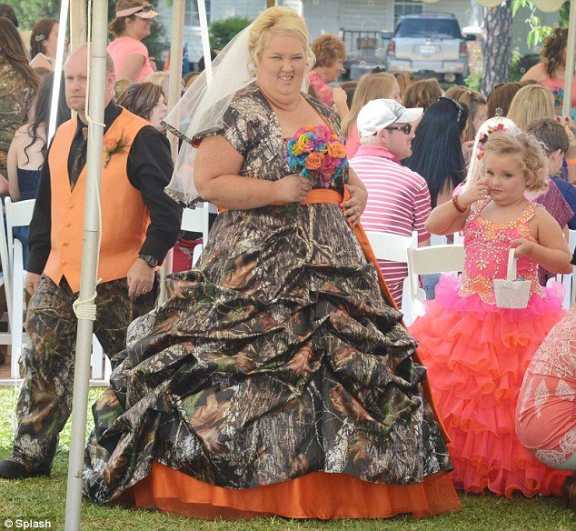 June Shannon wore a bizarre camouflage wedding dress for her nuptials with Honey Boo Boo's father Sugar Bear in their Georgia back garden