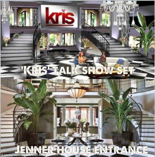 Kris Jenner has created a near duplicate of the Art Deco entrance hall in her Calabasas, California mansion for the set of her new chat show Kris, which premieres July 15
