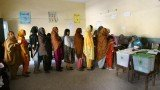 Long queues of women waiting to vote in Pakistan