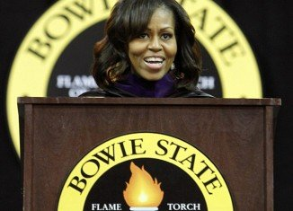 Michelle Obama debuted her new longer hairdo on Friday during her commencement address at Bowie State University