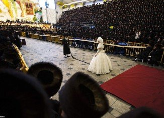 Shalom Rokeach and Hannah Batya Penet wedding in Jerusalem was attended by 25,000 Ultra Orthodox Jews of Hasidic dynasty Belz Rebbe