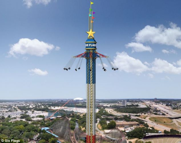 SkyScreamer, the world's tallest tower swing ride, was officially opened at the Six Flags Over Texas amusement park in Arlington
