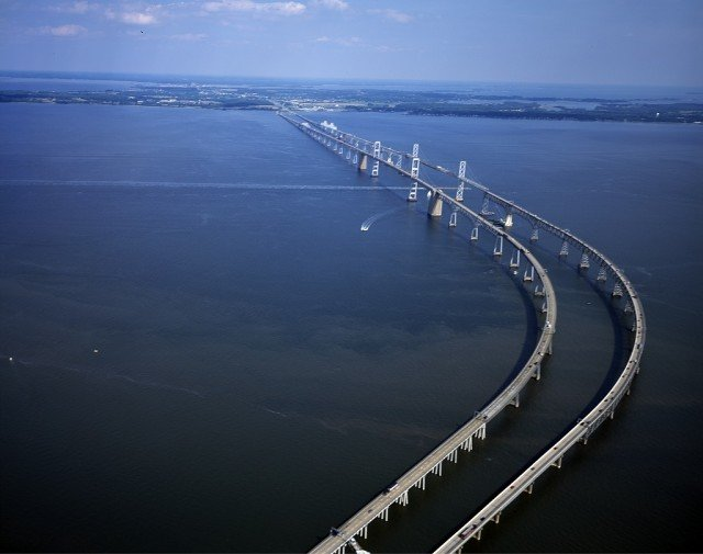 The William Preston Lane Jr. Memorial Bridge spans nearly five miles of the Chesapeake Bay to connect Maryland's eastern and western shores