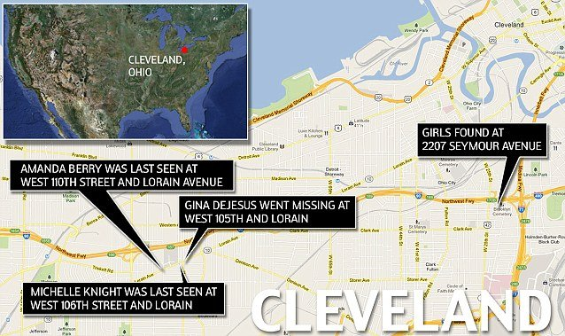 The three missing women in Cleveland who were abducted a decade ago were all last seen on the same busy block in the city photo