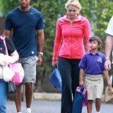 Tiger Woods and new girlfriend Lindsey Vonn play happy families as they drop his children off at school