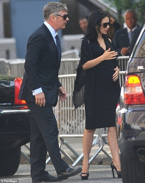 Alec and Hilaria Baldwin arrive at Cathedral Church of Saint John the Divine for James Gandolfini's funeral services  508x640 photo