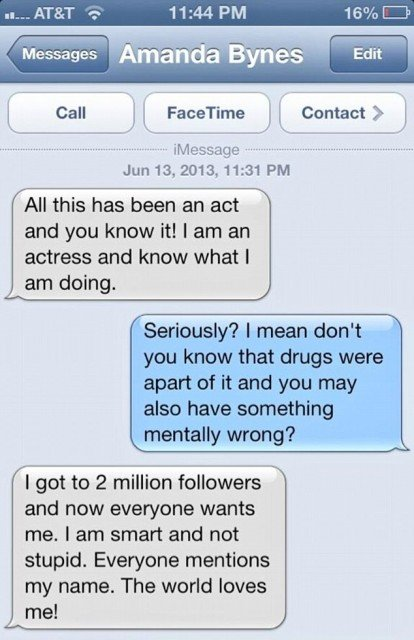 Amanda Bynes apparently sent a series of text messages to her friend Jonathan Jaxson, who promptly posted them on his Twitter account