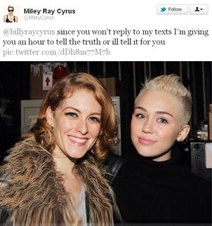 An unknown woman appears in a picture seemingly unknowingly posted from Miley Cyruss Twitter account photo