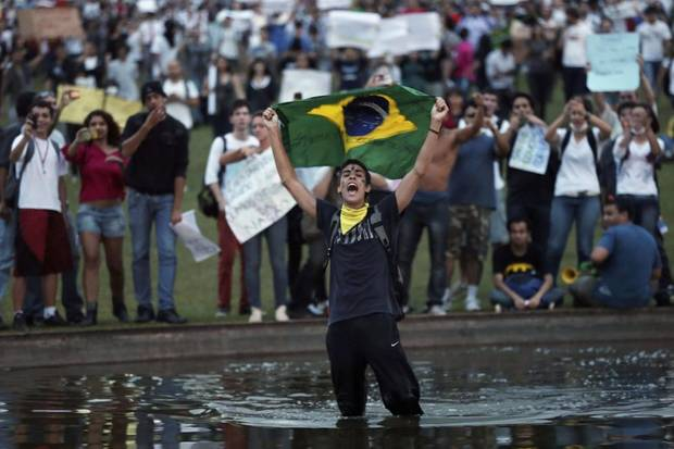 At least 200,000 people have marched through the streets of Brazil's biggest cities, as protests over rising public transport costs and the expense of staging the 2014 World Cup have spread