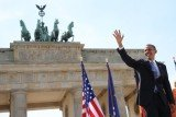 "Barack Obama spoke at Brandenburg Gate 50 years after JFK's ""Ich bin ein Berliner"" speech"