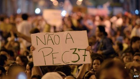 Brazil's Congress has rejected proposed constitutional amendment PEC 37 that was a key grievance of protesters