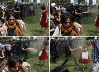 Ceyda Sungar, woman in red who becomes symbol of Turkish protests being doused with pepper spray, is an academic in city planning at Istanbul Technical University