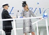 Eight months pregnant Kate Middleton cut a fashion-forward figure as she appeared at Southhampton Docks to christen the Royal Princess