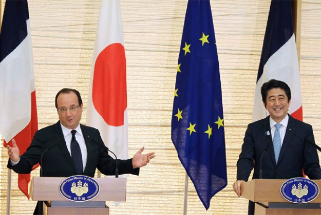 Francois Hollande has made an embarrassing slip of the tongue, confusing Japan and China, as he spoke in French at a news conference in Tokyo