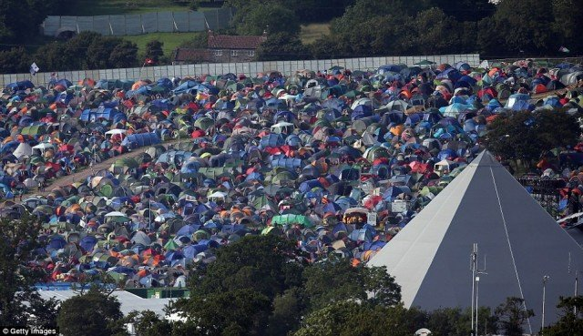 Glastonbury aerial photographs show the sprawling site of the world-famous music festival