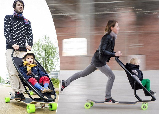 Longboardstroller the coolest invention for adventurous new mothers is here photo