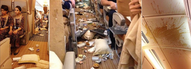 Passengers on a Singapore Airlines flight were left surrounded by a chaotic mess after their flight fell 20 metres when it hit severe turbulence