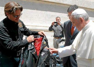 Pope Francis blessed crowds of motorcyclists at the Vatican for the 110th anniversary of Harley-Davidson